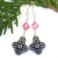 Flower Cross Earrings, Floral Pewter Pink Swarovski Crystals Handmade Christian Jewelry