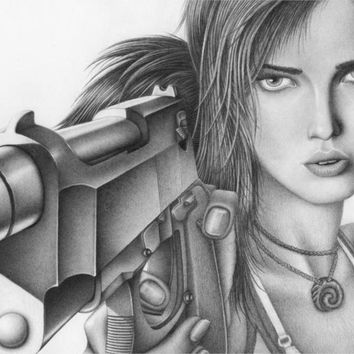 Game Tomb Raider Poster Lara Croft Art Drawing Pencil Face Eyes Arms Gun Canvas Painting Unframed Wall Pictures For Living Room