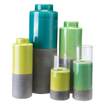 A10384 Stoneware Bottle Md Green &  Gray