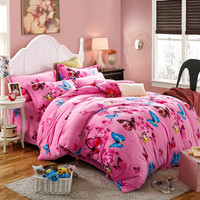 Flannel Winter Thick Duvet cover sets pink Butterfly Full Queen King size 4pcs Warm Bedding set bedclothes Bedsheet/Bed linen