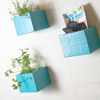 Wall Storage Organizer Box Shelf - Set of 3 Boxes - Large - Turquoise, Aqua, Teal - 1001 Ways