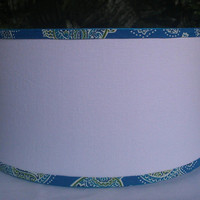Lampshade White Linen Drum Designer Fabric Turquoise Green Paisley Turtle Trim Spider Top Grosgrain Ribbon Custom Handmade Beach Classic