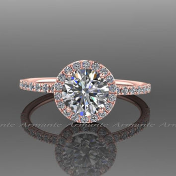 Moissanite Engagement Ring, Moissanite And White Sapphire 14k Rose Gold Halo Wedding Ring, Bridal Jewelry Re00073r