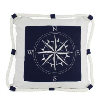 Compass With Nautical Rope Decorative Throw Pillow