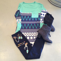 Mint Aztec Long Sleeve with Pocket