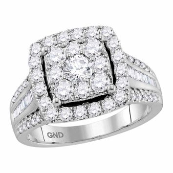 10kt White Gold Womens Round Diamond Square Cluster Bridal Wedding Engagement Ring 1-5/8 Cttw (Certified)