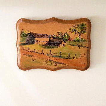 Vintage Pen Hand Drawn Wall Art -  Farm Scenic Middle of Nowhere Wood Panel Handmade Drawing Unique Gift Simple Barn