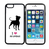 iPhone 6 (4.7 inch display) Designer Black Case - I Love My Pitbull Dog