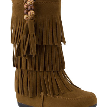 Toddler Girls Ositos BDW-16 Tall Suede Fringe Moccasin Zipped Boots
