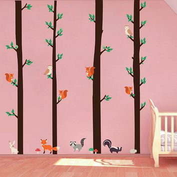 cik1667 Full Color Wall decal bedroom children's room decor Custom Baby Nursery on bed baby tree nusery decal tree forest animals owl squirrel