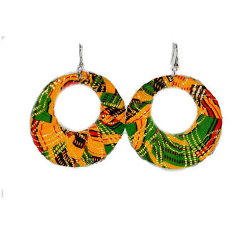 Valentine Day's Gift, African Ankara Fabric 3 inches round Hoop Ankara / African Prints Earrings, Yellow And Green Ankara Print Earrings