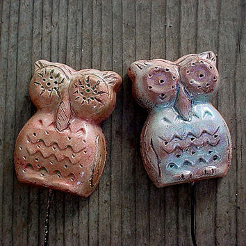 Set of two owls plant sticks garden or flower pot