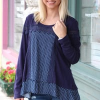 Polka Dots + Lace Ruffled Long Sleeve Top {Navy}