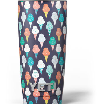 The All Over Teal and Green Ice Cream Cones Yeti Rambler Skin Kit