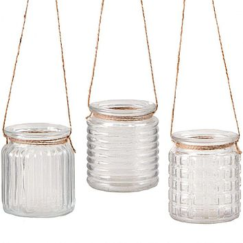 Set of Three Hanging Clear Glass Votive Holders/ Vases