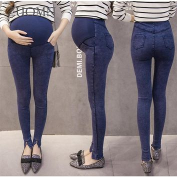 Atumn Spring Maternity Jeans Pregnancy Pants Denim Maternity Clothes Trousers For Pregnant Women Jeans Plus Size YL281
