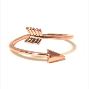 Rose Gold Arrow Ring - Adjustable