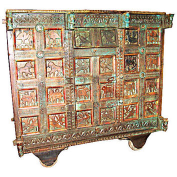 1940s Rustic Home Decor Wooden Carved Teak Original Patina India Antique Sideboard