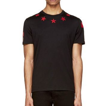 Givenchy Black And Red Star Jersey T-shirt
