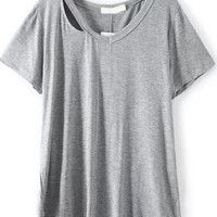 Grey Cut-Out V-Neckline Short Sleeve T-Shirt