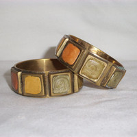VINTAGE BRASS Napkin Rings, 1970's, Yellow, Green, Brown, Earthtones
