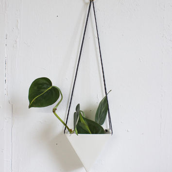Small Porcelain Triangle Hanging Planter, White