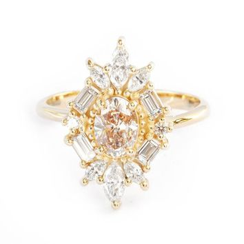 Champagne Diamond  ring Oval Unique Antique Ballerina Engagement Ring, 1.3 carat, 14K Yellow Gold, Marquise & Baguette Diamond, Great Gatsby