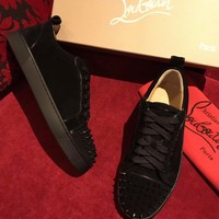 Best Online Sale Christian Louboutin CL Louis Junior Spikes Men's Women's Flat Black Suede Shoes