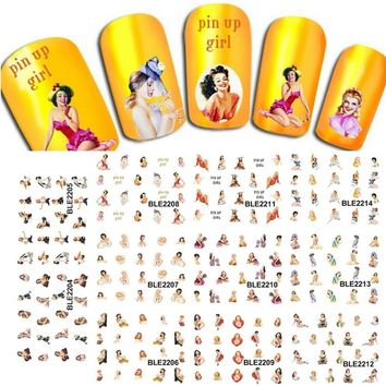 1sets11designs Available Princess Sexy Nail Art Water Stickers Wraps French Tips Watermark Manicure Styling Tools LABLE2204-2214