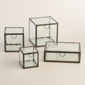 White Floral Glass Box