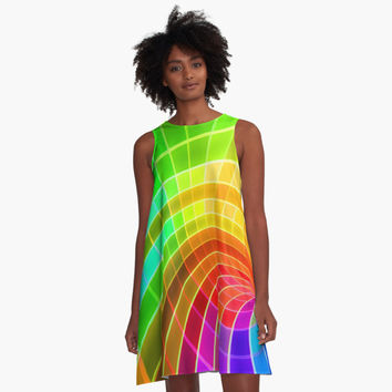 'Unique Colorful Rainbow Swirl' A-Line Dress by pugmom4