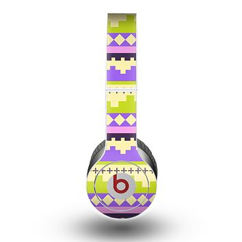 The Purple & Green Tribal Ethic Geometric Pattern Skin for the Beats by Dre Original Solo-Solo HD Headphones