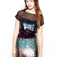French Connection Roka Sequin Dress - Utility blue