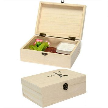 Useful Home Storage Box Natural Wooden With Lid Golden Lock Postcard Home Organizer Handmade