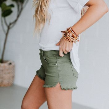 Josie Denim Colored Cut Off Shorts - Green Tea