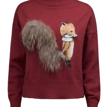 Burgundy High Neck Fluffy Squirrel Tail Knit Sweater