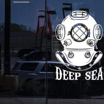 Window Murals and Wall Vinyl Decal Diving Helmet Deep Sea Ocean Sea Home Interior Decor Unique Gift z4260w