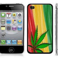 "Rasta/Reggae Snap-On Cover w/ Clear Case for iPhone 4/4S - ""Marijuana/Sativa"""