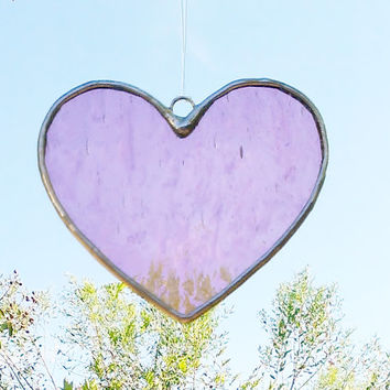 Pink Heart Stained Glass Sun Catcher Tiffany Glass Heart Suncatcher Made to Order Free Shipping Gift Idea