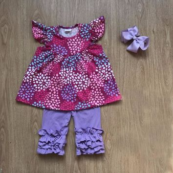 firework floral pearl dress with matching solid icing ruffle capris outfits with headbow