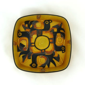 Vintage Royal Copenhagen modernist yellow Faeince bowl, mid century modern art pottery, Baca Series