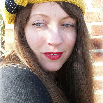 Bow Headband , Earwarmer , Retro , Ear Warmer , Mustard , Yellow , Black and White , Polkadots
