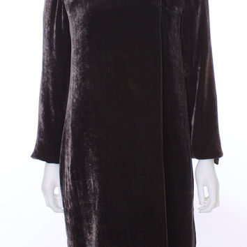 Donna Karan Signature Collection Brown Velvet Duster Silk Blend Coat Size Small