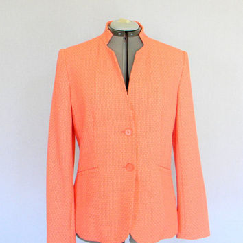 Vintage Jacket SALE Coral Pink Salmon Blazer Size Medium Mad Men Fashion. Valentine's Day. Easter. Spring Summer Pastel