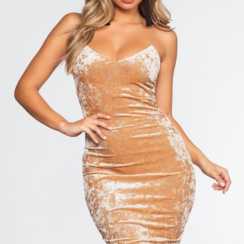 Soft Touch Midi Dress - Champagne