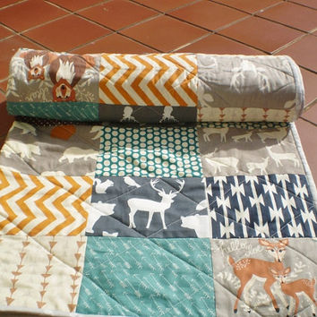 Baby quilt,Teal,grey,rust,brown,baby bedding,woodland,rustic,organic,spoonflower,chevron,bears,deer,owl,fox,stag,arrows,Hello Bear n friends