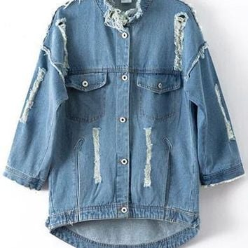 Distressed Longline Denim Jacket with Number Printed Back