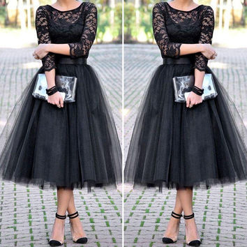 Free Shipping Black Lace Short Prom Dresses Long Sleeve Tulle A-Line Evening Party Dresses Cheap Lace Short Homecoming Dresses