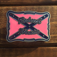 Redneck Woman Rebel Flag Belt Buckle