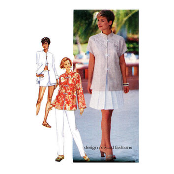 WOMENS TUNIC TOP SKiRT & Pants Pattern Wardrobe Patterns Mandarin Collar Shirt Butterick 3500 Size 6 8 10 12 UNCuT Womens Sewing Patterns